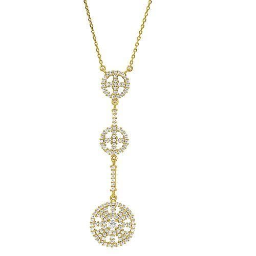 Gold Vermeil Finish Sterling Silver Micropave Three Circle Drop Necklace - BL2261NG-Kelly Waters-Renee Taylor Gallery