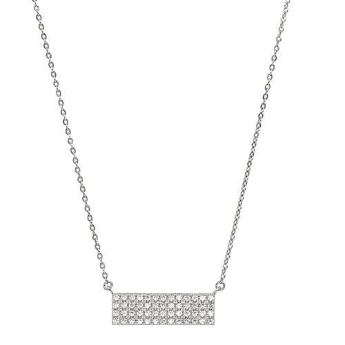 Platinum Finish Sterling Silver Micropave Four Row Bar Necklace - BL2262N-Kelly Waters-Renee Taylor Gallery