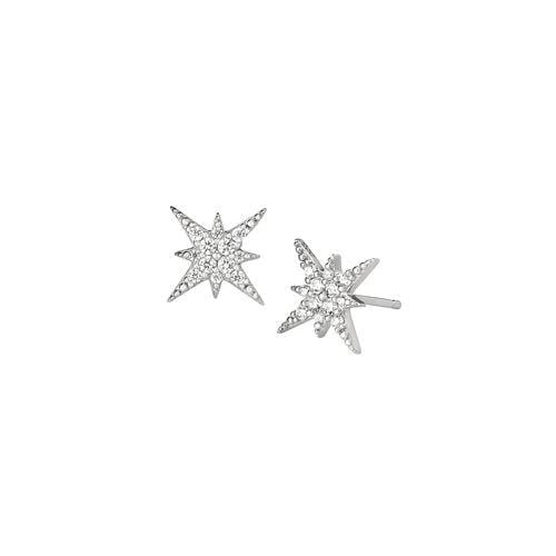 Platinum Finish Sterling Silver Micropave Starburst Earrings - BL2263E-Kelly Waters-Renee Taylor Gallery