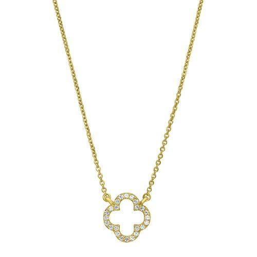 Gold Vermeil Finish Sterling Silver Micropave Open Clover Necklace - BL2264NG-Kelly Waters-Renee Taylor Gallery