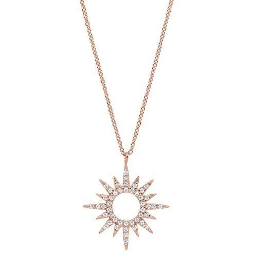 Rose Gold Vermeil Finish Sterling Silver Micropave Open Starburst Pendant - BL2265NRG-Kelly Waters-Renee Taylor Gallery