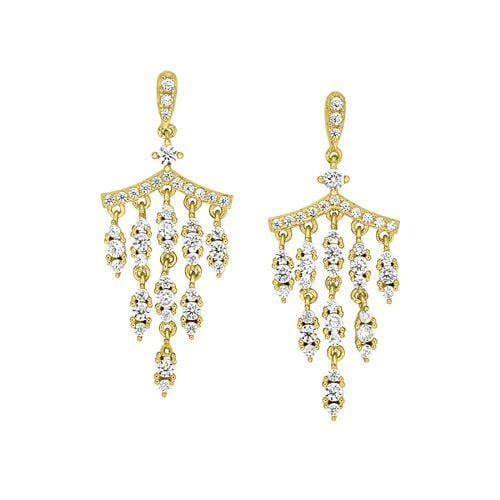 Gold Vermeil Finish Sterling Silver Micropave Chandelier Earrings - BL2266EG-Kelly Waters-Renee Taylor Gallery