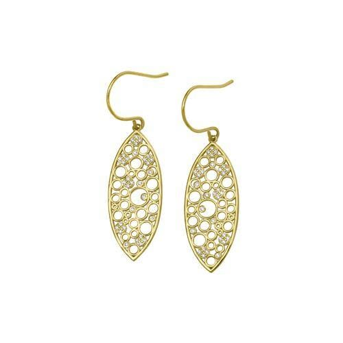 Gold Vermeil Finish Sterling Silver Micropave Floating Circles Earrings - BL2267EG-Kelly Waters-Renee Taylor Gallery