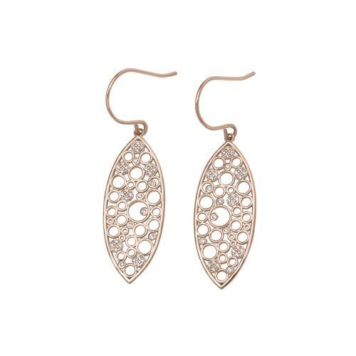 Rose Gold Vermeil Finish Sterling Silver Micropave Floating Circles Earrings - BL2267ERG-Kelly Waters-Renee Taylor Gallery