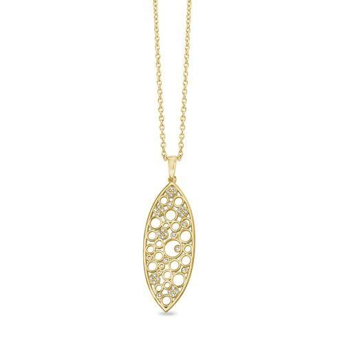 Gold Vermeil Finish Sterling Silver Micropave Floating Circles Pendant - BL2267NG-Kelly Waters-Renee Taylor Gallery