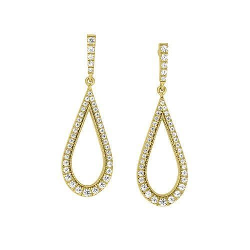 Gold Vermeil Finish Sterling Silver Micropave Teardrop Earrings - BL2268EG-Kelly Waters-Renee Taylor Gallery