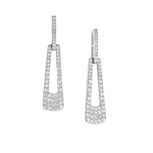 Platinum Finish Sterling Silver Micropave Door Knocker Earrings - BL2269E-Kelly Waters-Renee Taylor Gallery
