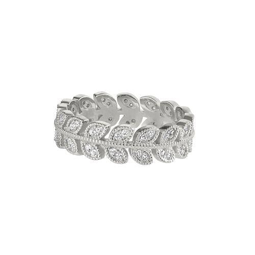 Platinum Finish Sterling Silver Micropave Leaf Ring - BL2270R-Kelly Waters-Renee Taylor Gallery