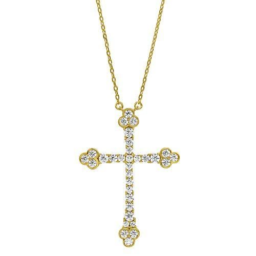 Gold Vermeil Finish Sterling Silver Micropave Cross Pendant - BL2271NG-Kelly Waters-Renee Taylor Gallery