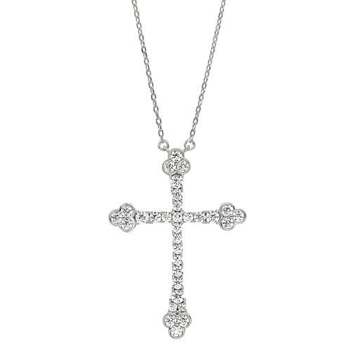 Platinum Finish Sterling Silver Micropave Cross Pendant - BL2271N-Kelly Waters-Renee Taylor Gallery