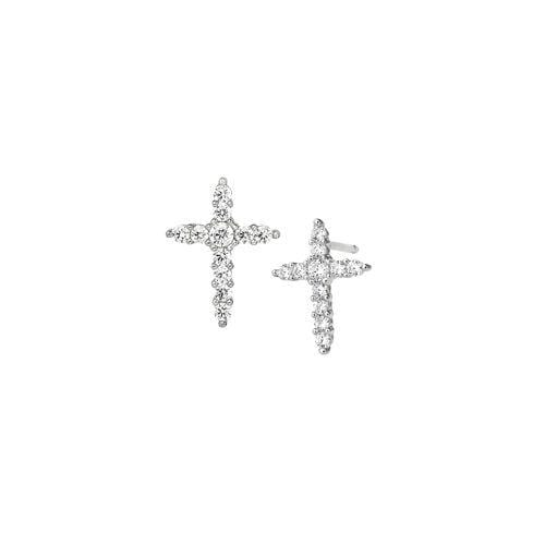 Platinum Finish Sterling Silver Cross Earrings - BL2272E-Kelly Waters-Renee Taylor Gallery