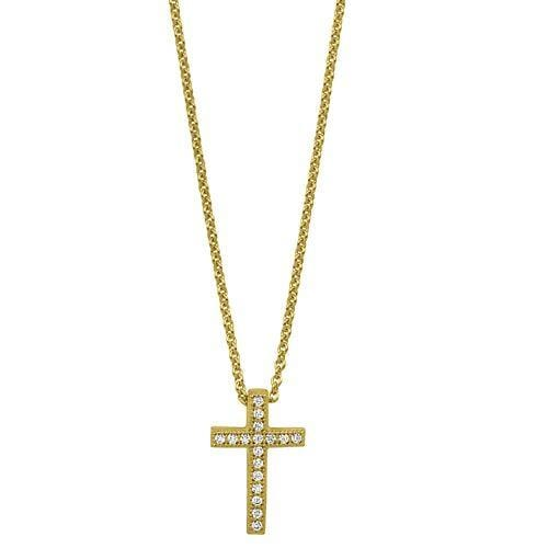 Gold Vermeil Finish Sterling Silver Micropave Cross Pendant - BL2273NG-Kelly Waters-Renee Taylor Gallery