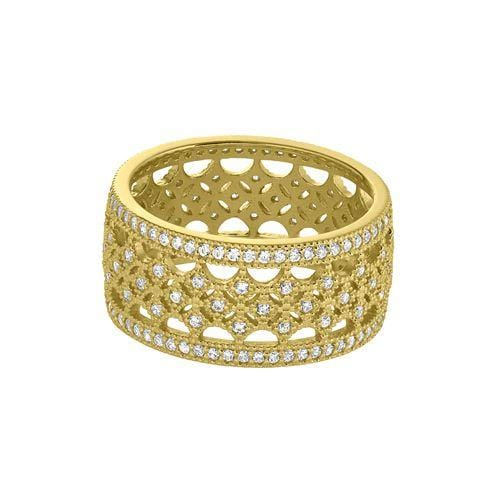 Gold Vermeil Finish Sterling Silver Micropave Fancy Ring - BL2274R/G-Kelly Waters-Renee Taylor Gallery