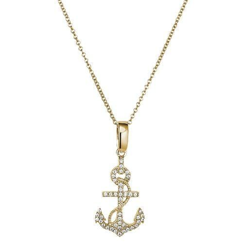 Gold Vermeil Finish Sterling Silver Micropave Anchor Pendant - BL2279NG-Kelly Waters-Renee Taylor Gallery