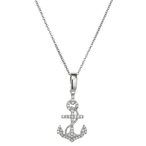Platinum Finish Sterling Silver Micropave Anchor Pendant - BL2279N-Kelly Waters-Renee Taylor Gallery