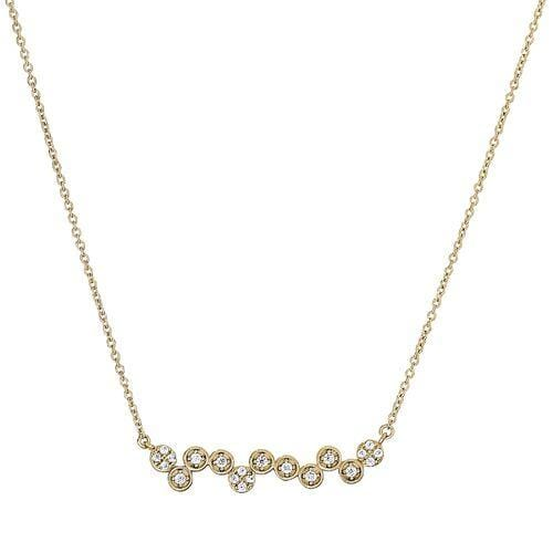 Gold Vermeil Finish Sterling Silver Micropave Bubbles Necklace - BL2280NG - Kelly Waters