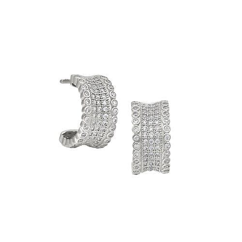 Platinum Finish Sterling Silver Micropave Five Row Concave Huggie Earrings - BL2284E-Kelly Waters-Renee Taylor Gallery