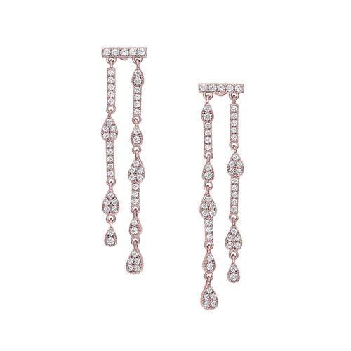 Rose Gold Vermeil Finish Sterling Silver Micropave Two Row Drop Earrings - BL2286ERG-Kelly Waters-Renee Taylor Gallery