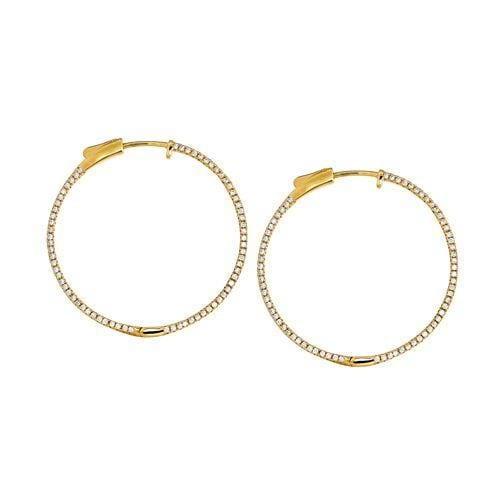 Gold Vermeil Finish Sterling Silver Micropave Large Earrings - BL2296EG-Kelly Waters-Renee Taylor Gallery