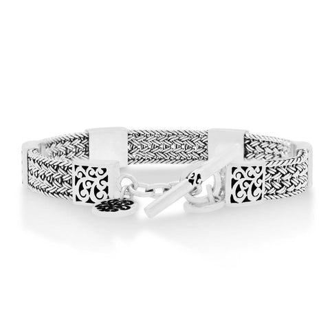 Sterling Silver Classic Small Textile Weave Bracelet - BP8115-00427-Lois Hill-Renee Taylor Gallery