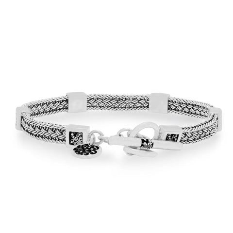 Sterling Silver Classic XS Textile Weave Bracelet with Square Granulated Stations - BP8117-00427-Lois Hill-Renee Taylor Gallery