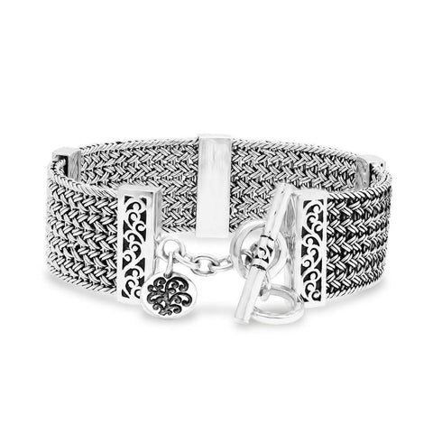 Sterling Silver Classic Textile Weave Bracelet - BP8140-00457-Lois Hill-Renee Taylor Gallery