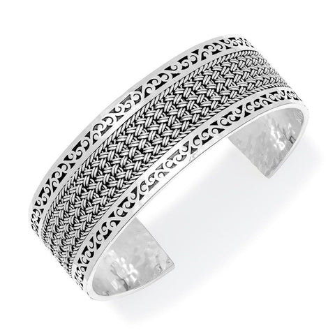 Sterling Silver Classic Small Textile Weave Cuff - BP8160-00418-Lois Hill-Renee Taylor Gallery