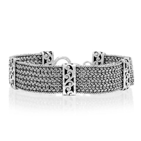 Sterling Silver Classic Medium Textile Weave Bracelet - BP8168-00428-Lois Hill-Renee Taylor Gallery