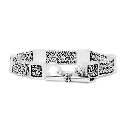 Sterling Silver Classic Small Textile Weave Bracelet with Square Granulated Stations - BP8187-00548-Lois Hill-Renee Taylor Gallery
