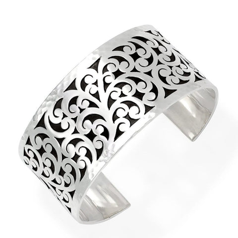 Sterling Silver Classic Medium Carved Scroll Cuff - BU2173-00121-Lois Hill-Renee Taylor Gallery