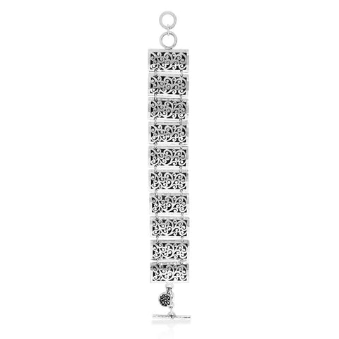 Sterling Silver Classic Carved Scroll Station Bracelet - BU5067-00148-Lois Hill-Renee Taylor Gallery