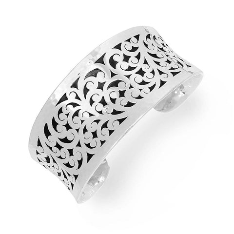 Sterling Silver Classic Medium Tapered Carved Scroll Cuff - BU6563-00126-Lois Hill-Renee Taylor Gallery