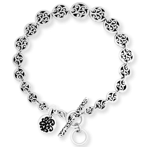 Sterling Silver Classic XS Tapered Carved Scroll Disk Bracelet - BU6655-00157-Lois Hill-Renee Taylor Gallery