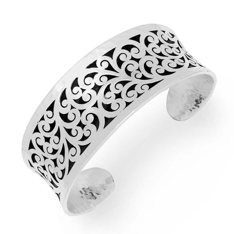 Sterling Silver Classic Small Carved Scroll Cuff - BU6660-00318-Lois Hill-Renee Taylor Gallery