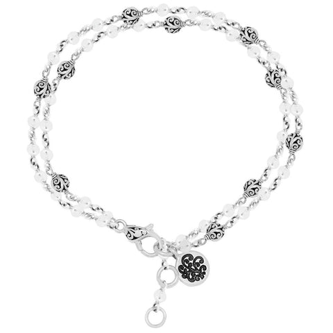 Sterling Silver Classic Carved Scroll Bead Station Double Chain Bracelet - BU6680-00138-Lois Hill-Renee Taylor Gallery