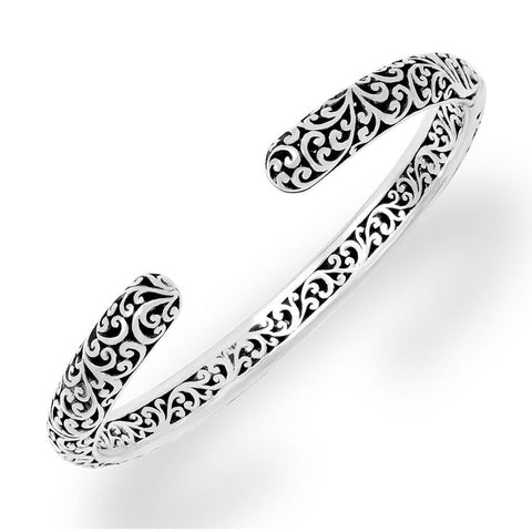 Sterling Silver Classic Small Carved Scroll Cuff- BU6683-00138-Lois Hill-Renee Taylor Gallery