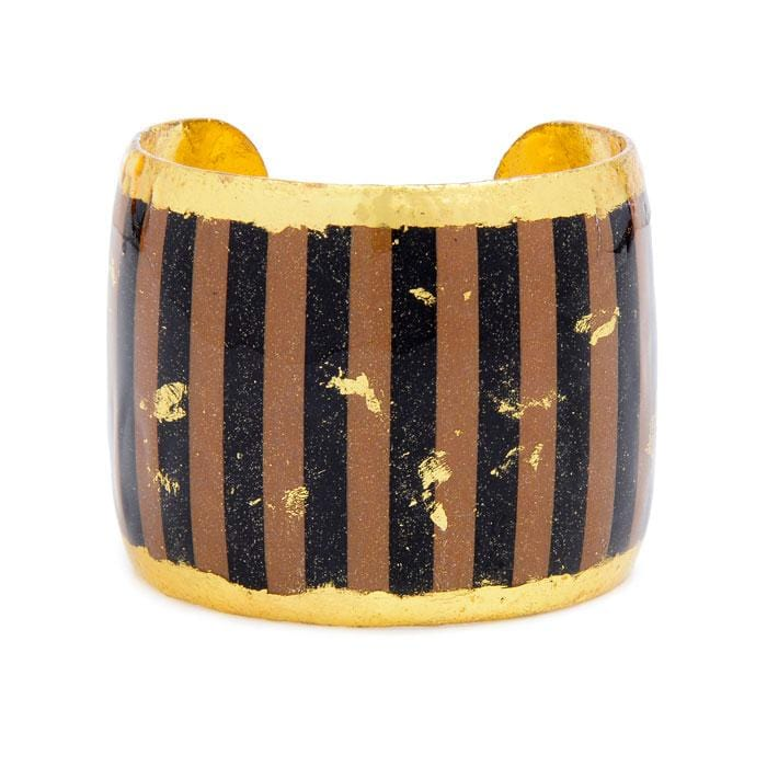 Taupe & Black Stripes Cuff - BW124-Evocateur-Renee Taylor Gallery