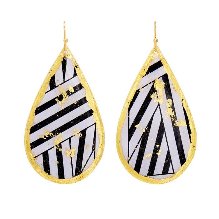 Wrapped Ribbon Teardrop Black Earrings - BW413-Evocateur-Renee Taylor Gallery