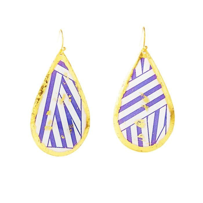 Wrapped Ribbon Teardrop Purple Earrings - BW414-Evocateur-Renee Taylor Gallery