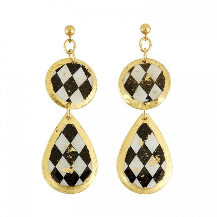 Harlequin Double Drop Earrings - BW431BP-Evocateur-Renee Taylor Gallery