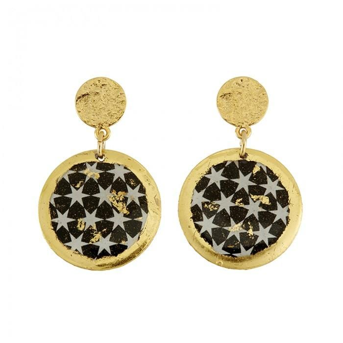 Black & White Stars Disc Earrings - BW434FP-Evocateur-Renee Taylor Gallery