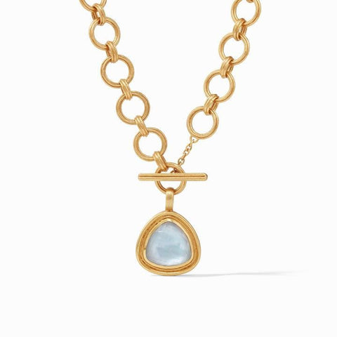 Barcelona Statement Gold Iridescent Chalcedony Blue Necklace - N350GICA00-Julie Vos-Renee Taylor Gallery