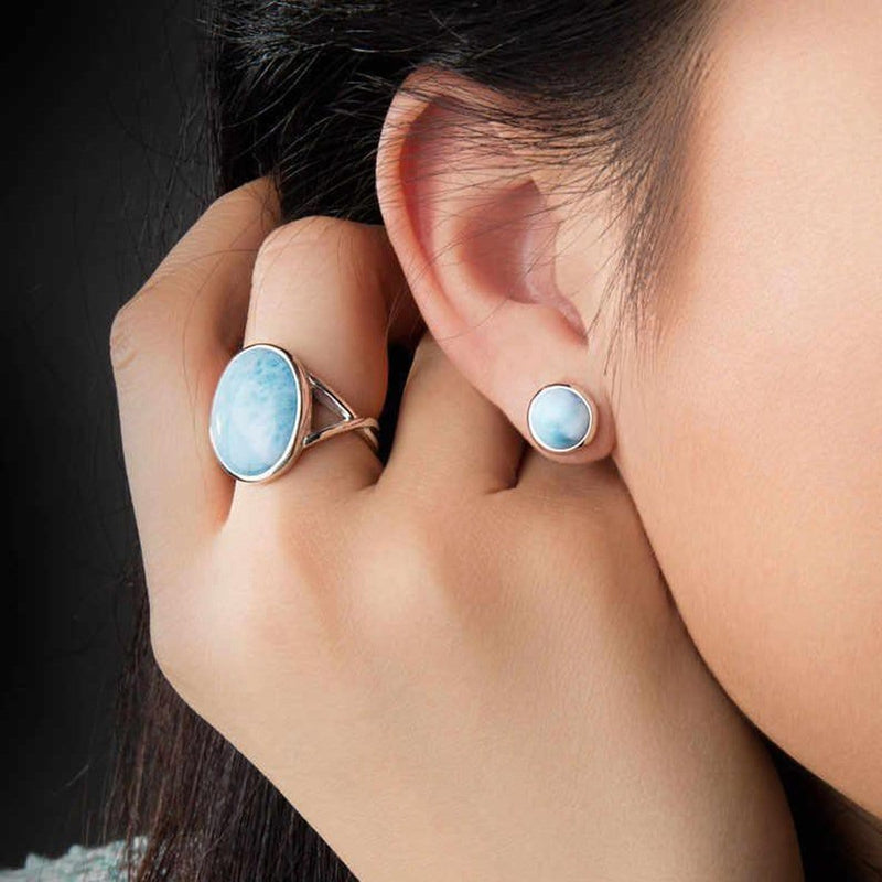 Basic Round Post Stud Earrings - Ebasi02-00-Marahlago Larimar-Renee Taylor Gallery