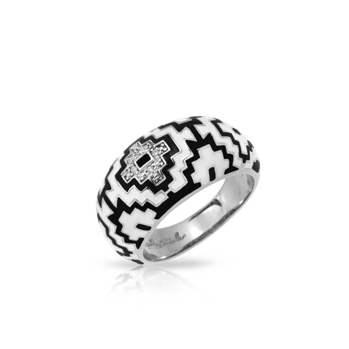 Aztec Black and White Ring-Belle Etoile-Renee Taylor Gallery