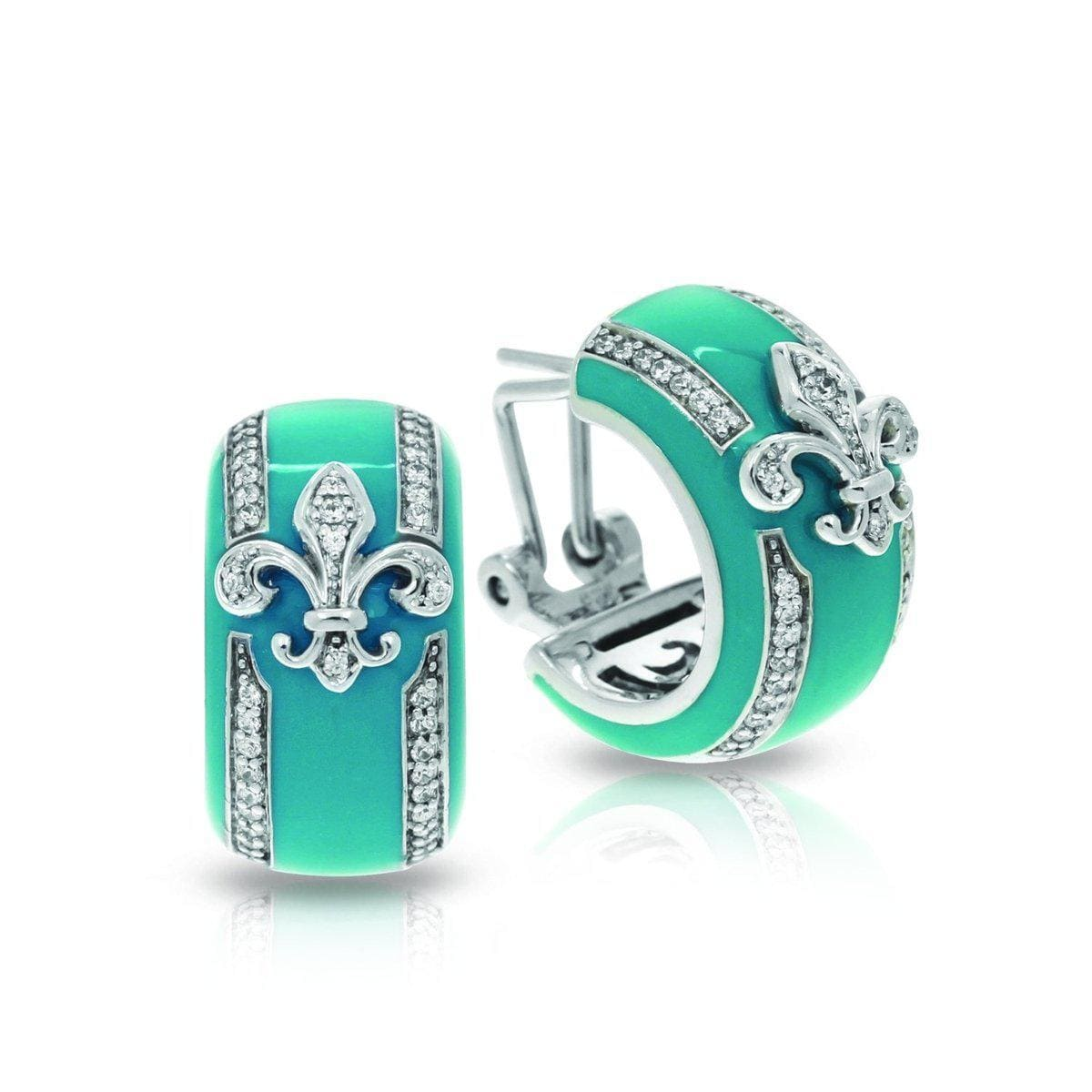 Fleur de Lis Teal Earrings