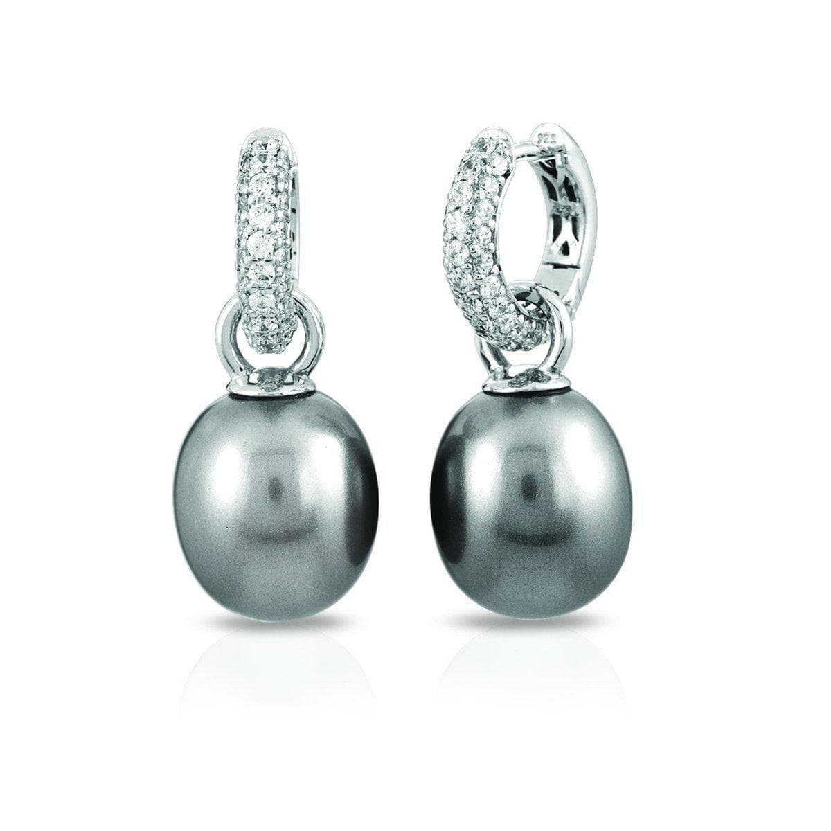 Pearl Hoops Grey Earrings-Belle Etoile-Renee Taylor Gallery