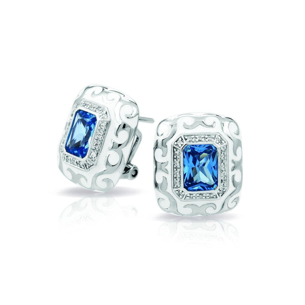 Royale Stone White and Aquamarine Earrings-Belle Etoile-Renee Taylor Gallery