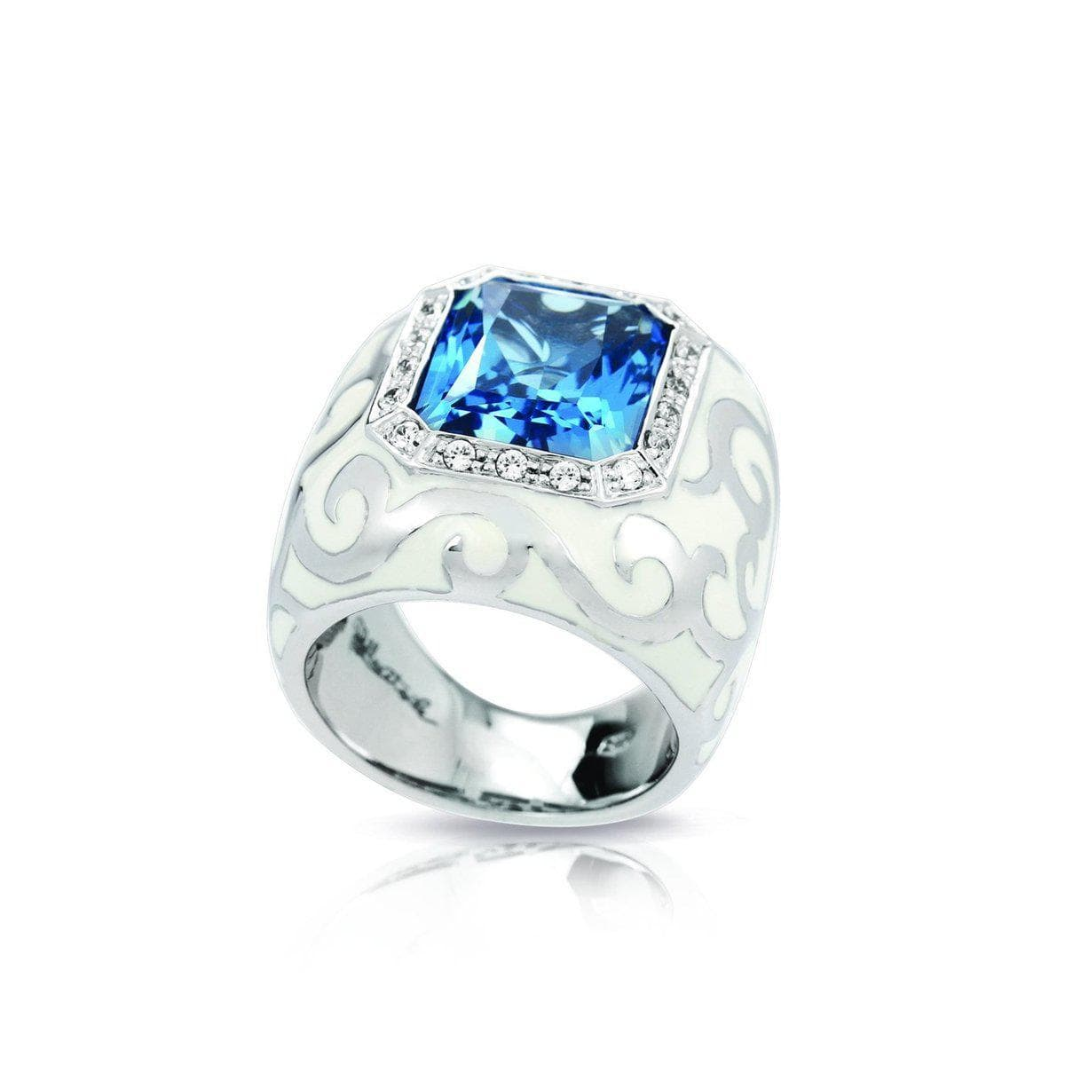 Royale Stone White and Aquamarine Ring-Belle Etoile-Renee Taylor Gallery