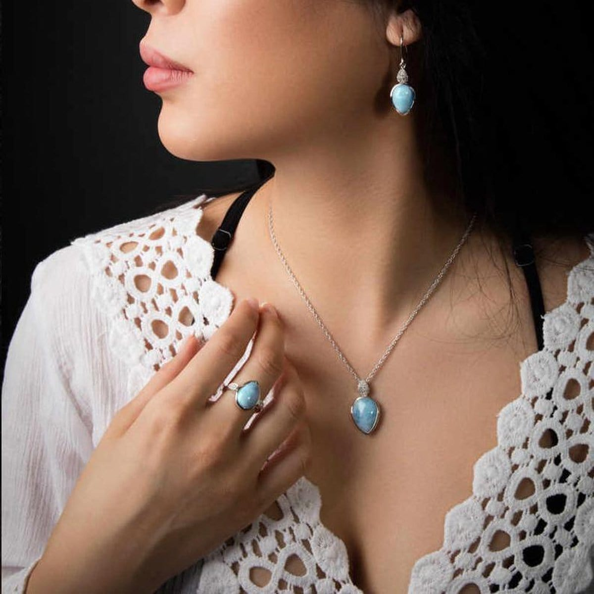 Bliss Pear Earrings - Eblis0P-00-Marahlago Larimar-Renee Taylor Gallery