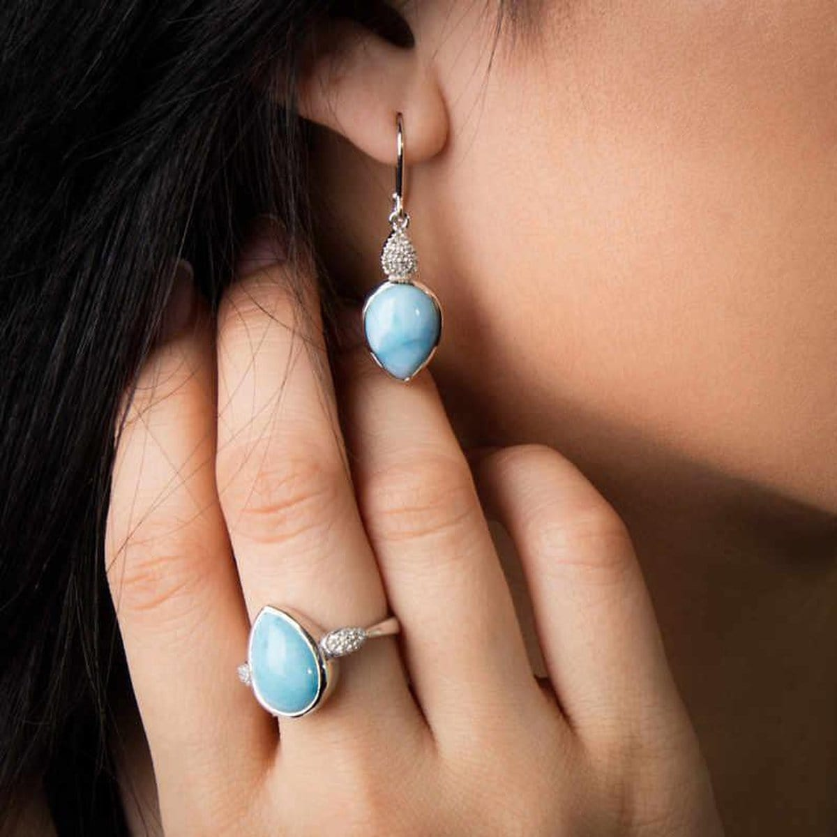 Bliss Pear Earrings - Eblis0P-00 - Marahlago Larimar
